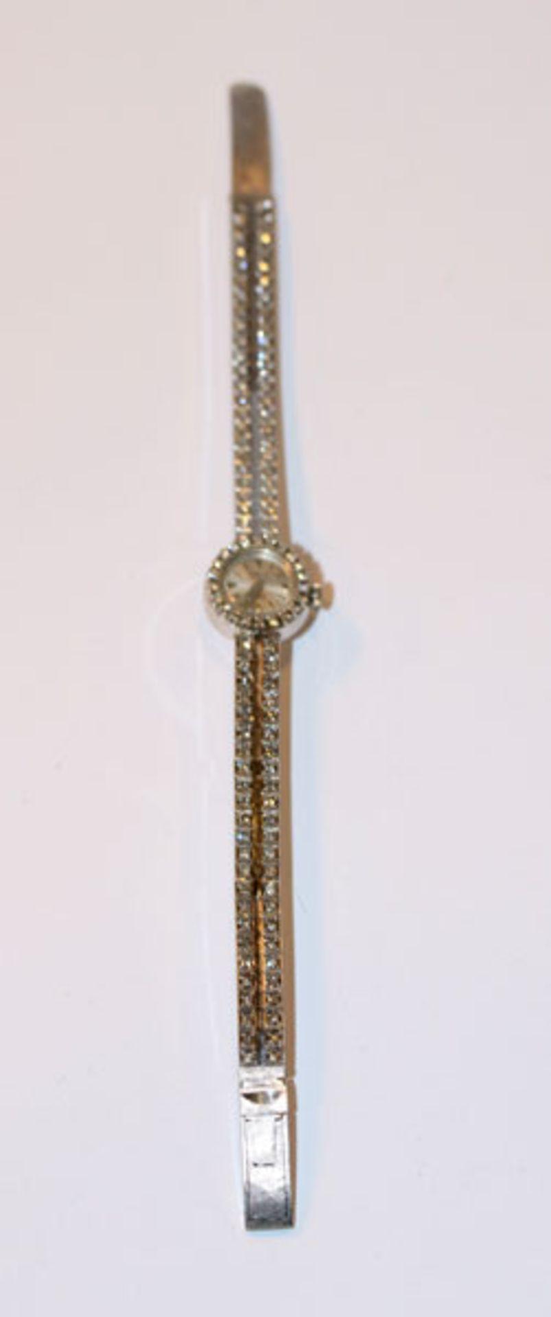 18 k Weißgold Damen Armbanduhr der Firma Dreffa, Zifferblatt mit Diamantkranz und das ganze