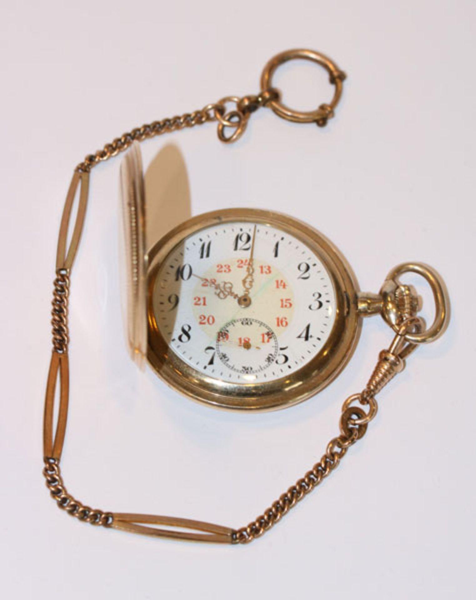 Los 42 - Doublé Taschenuhr, fein graviertes Gehäuse, intakt, muss gereinigt werden, an Kette, L 25 cm, um