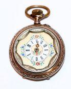 Damen Taschenuhr, 800 Silber, bemaltes Zifferblatt, Zeiger und Glas fehlt, Funktion nicht geprüft, D
