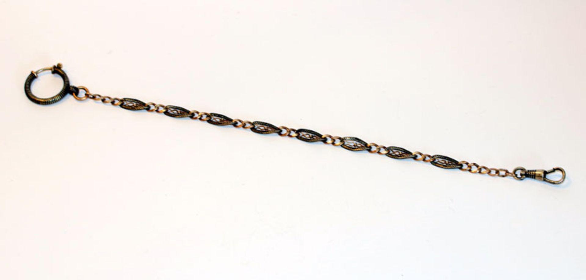 Los 11 - Uhrenkette, 800 Silber mit feiner Nielloarbeit, L 24 cm