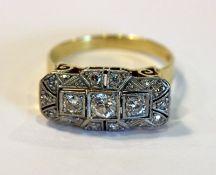 14 k Gelb- und Weißgold Ring mit 17 Diamanten, schöne Handarbeit um 1920/30, Gr. 63