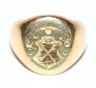 18 k Gelbgold (geprüft) Ring mit Wappendekor, 15,5 gr., Gr. 58
