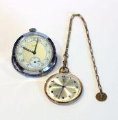Junghans Doublé Taschenuhr, D 4 cm, an Kette, L 21 cm, und Kienzle Nickel Taschenuhr mit Ring zum