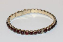Granat Armband, 835 Silber, D 6 cm