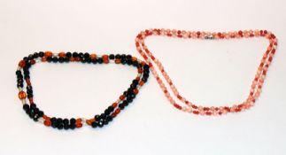 Korallen Kugelkette, zweifarbig, L 88 cm, und Granat-, Bernstein- und Süßwasser-Perlenkette, L 72