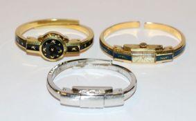 3 Spangen-Armbanduhren in verschiedenen Dekoren, intakt, Tragespuren