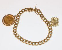 18 k Gelbgold Flachpanzer Armband mit 2 Anhänger, 3 Affen und Olympiamedaille Innsbruck, 45,8 gr., L