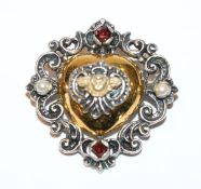 Silber Anhänger/Brosche in Herzform, teils vergoldet mit Granaten und Perlchen, 3 cm x 3 cm