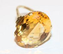 14 k Gelbgold (geprüft) Ring mit Citrin, Gr. 61, 7,1 gr., schöne Handarbeit