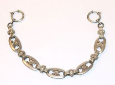 Silber Uhrenkette, 19. Jahrhundert, schöne Handarbeit, 835 Silber, 43,7 gr., L 26 cm