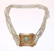 Trachten-Kropfkette, 800 Silber, 5-reihig, Mittelteil vergoldet, filigrane Handarbeit mit