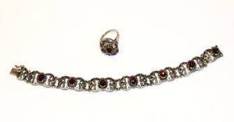 Silber Trachten Armband mit 7 Granaten, L 18,5 cm, und passender Ring, Gr. 55
