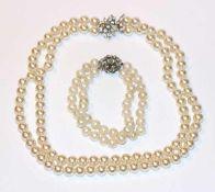 Modeschmuck Perlencollier, 2-reihig, L 40 cm und Armband, 2-reihig, L 18 cm, Verschlüsse Silber