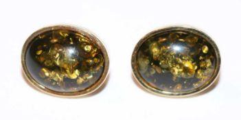Paar 8 k Gelbgold Ohrstecker mit Bernstein, rückseitig mit Goldplatte, 6,6 gr., L 1,8 cm