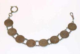 Silber Uhrenkette mit 8 x 1 Mark Münzen, L 30 cm, 53 gr.