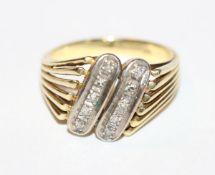 14 k Gelbgold Ring mit 10 in Weißgold gefaßten Diamanten, Gr. 56, 6,3 gr.