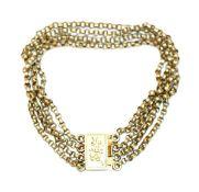Silber/vergoldetes Armband, 4 Ketten mit gravierter Schließe, L 18 cm