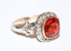 Silber/Gold Ring mit Farbstein, hat Sprung, Altschliff Diamantkranz, um 1900, Gr. 56, schöne