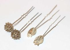 4 Silber Haarnadeln in 2 Dekoren, filigrane Handarbeit, L 10/10,5 cm