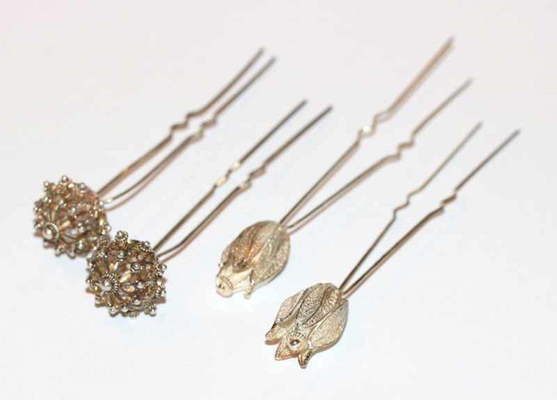 Los 22 - 4 Silber Haarnadeln in 2 Dekoren, filigrane Handarbeit, L 10/10,5 cm