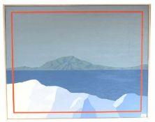 Gemälde Acryl/LW 'Berge mit See', rückseitig signiert Rolf Liese, datiert 28.2.72, * 1937 Hagen/