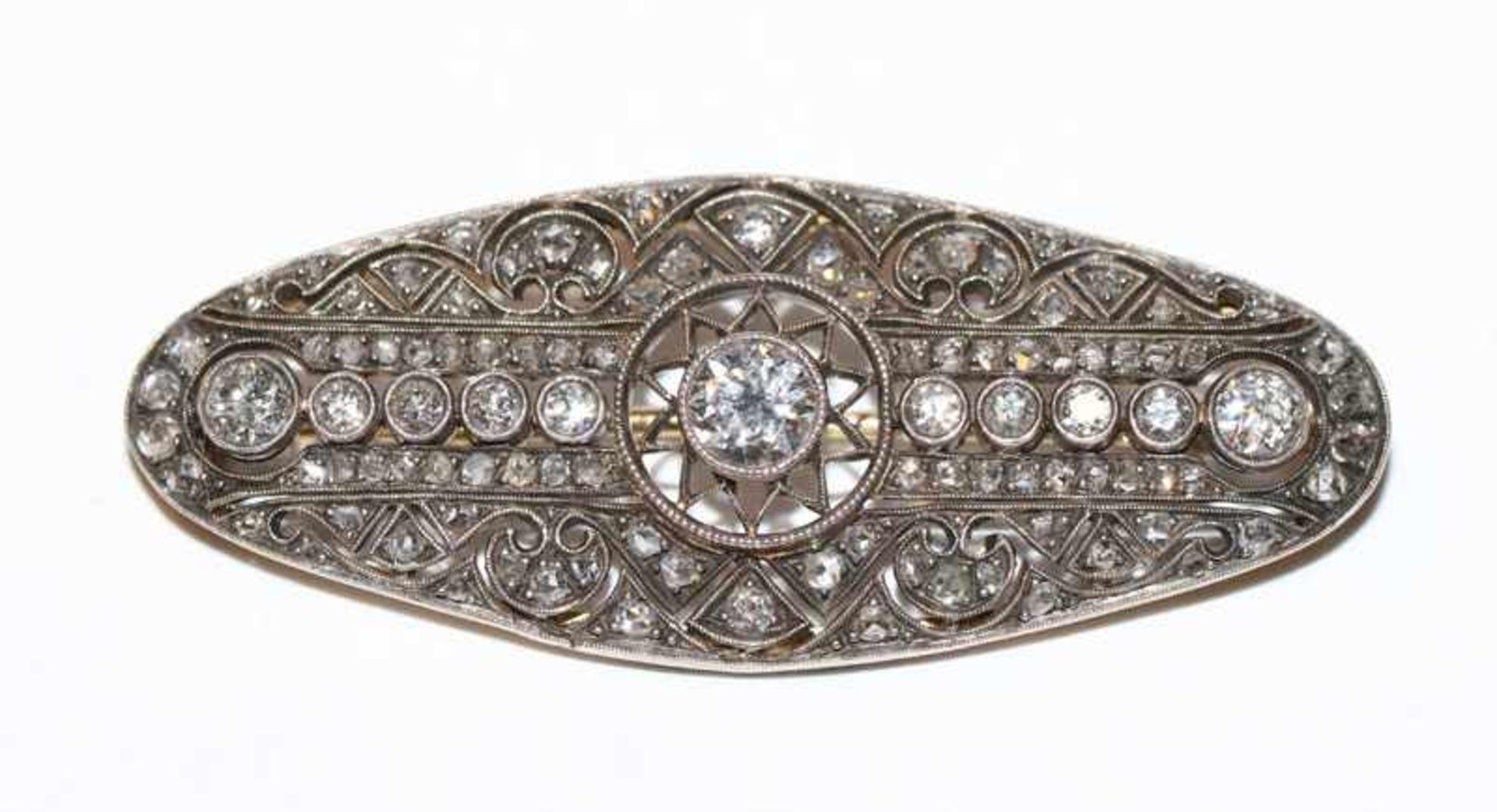 14 k Gelbgold/Silber Brosche mit Diamanten, Mittelstein ca. 0,50 ct., tw/vsi, die anderen