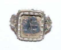 Antoni Ring, reliefierter Heiliger Antonius und Ringschiene, Silber, Gr. 61, Tragespuren
