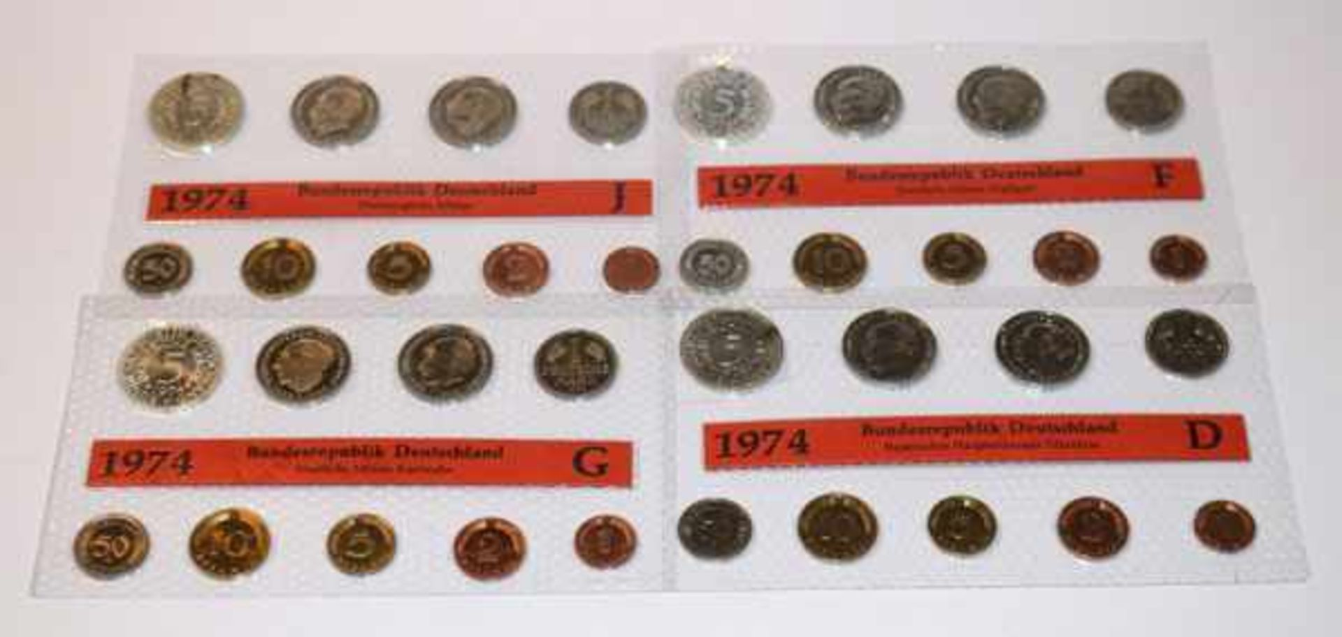 Ein Kursmünzsatz 1974 der BRD, letztes Jahr mit Silber 5 DM Münze