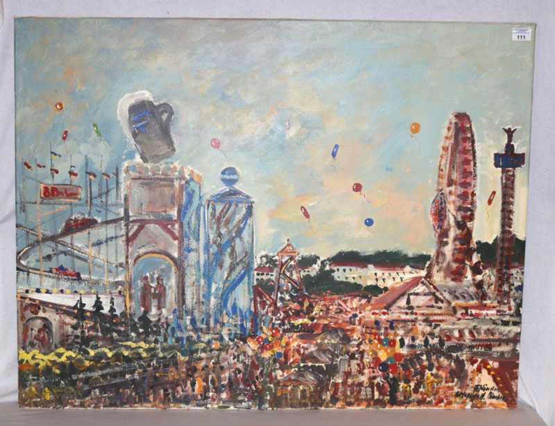 Gemälde ÖL/LW 'Oktoberfest München', signiert F. Nömeyer, * 1938 München, tätig auf Schloß