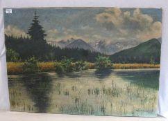 Gemälde ÖL/LW 'Voralpenlandschaft', signiert Walter Jentsch, datiert 1942, ohne Rahmen, 70 cm x
