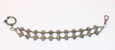 Uhrenkette, 925 Silber, reliefiertes Dekor, teils mit kleinen Farbsteinen verziert, L 21 cm,