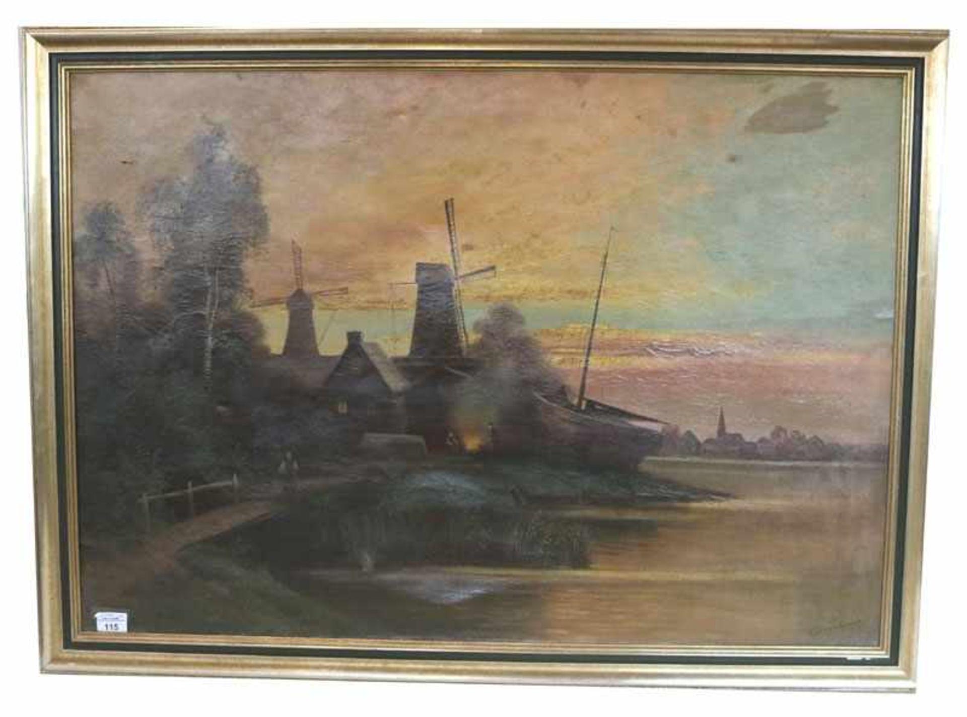 Gemälde ÖL/LW 'Holländische Küsten-Szenerie in Abendstimmung', signiert V. Tunzenhausen ?, LW