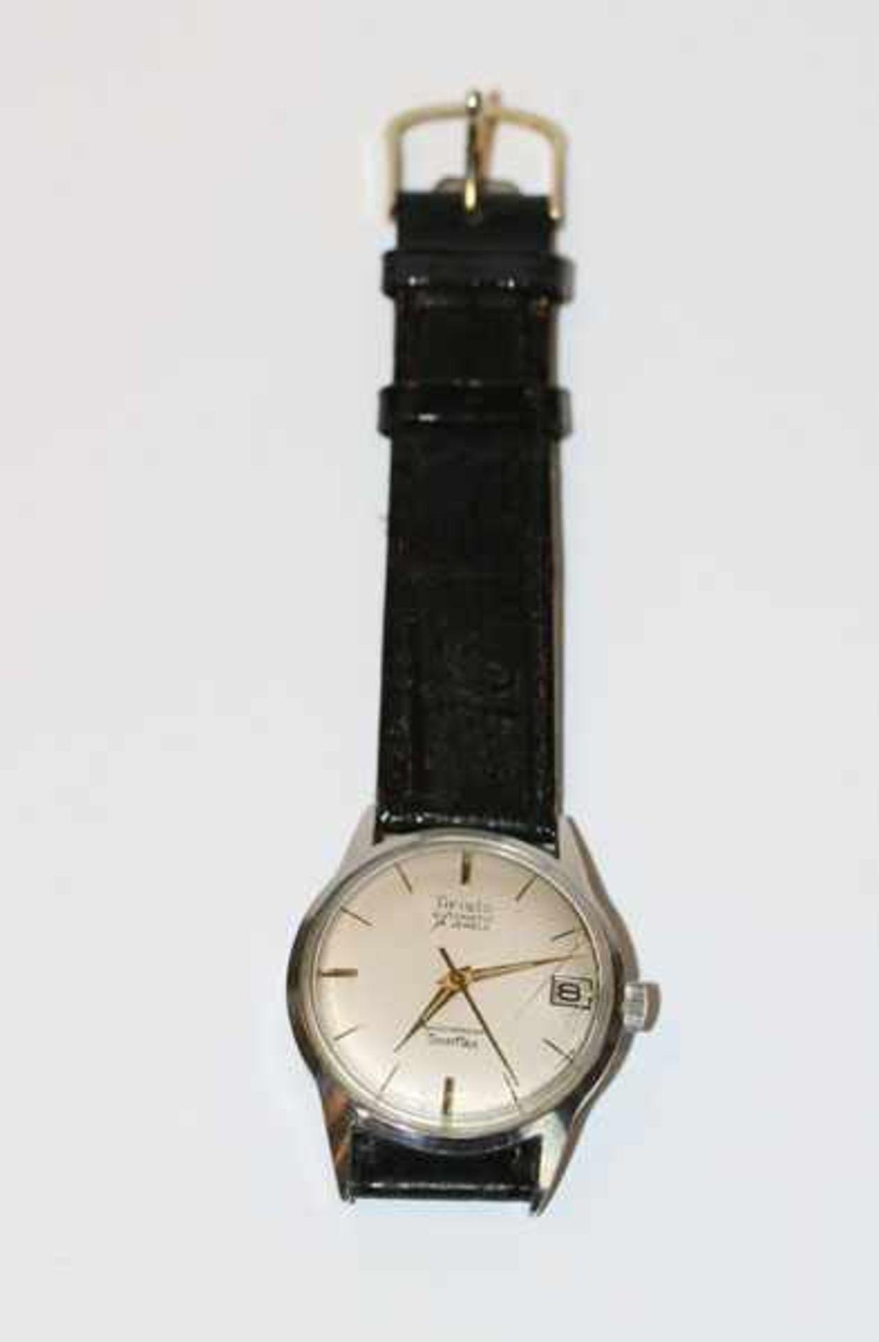 Los 60 - Aristo Automatic Herren Armbanduhr mit Datumsanzeige, intakt, an schwarzem Armband