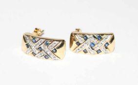 Paar 14 k Gelb- und Weißgold Ohrstecker mit in Weißgold gefaßten Diamanten, L 1,6 cm