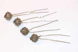 4 Silber Haarnadeln, filigrane Handarbeit, L 10,5 cm