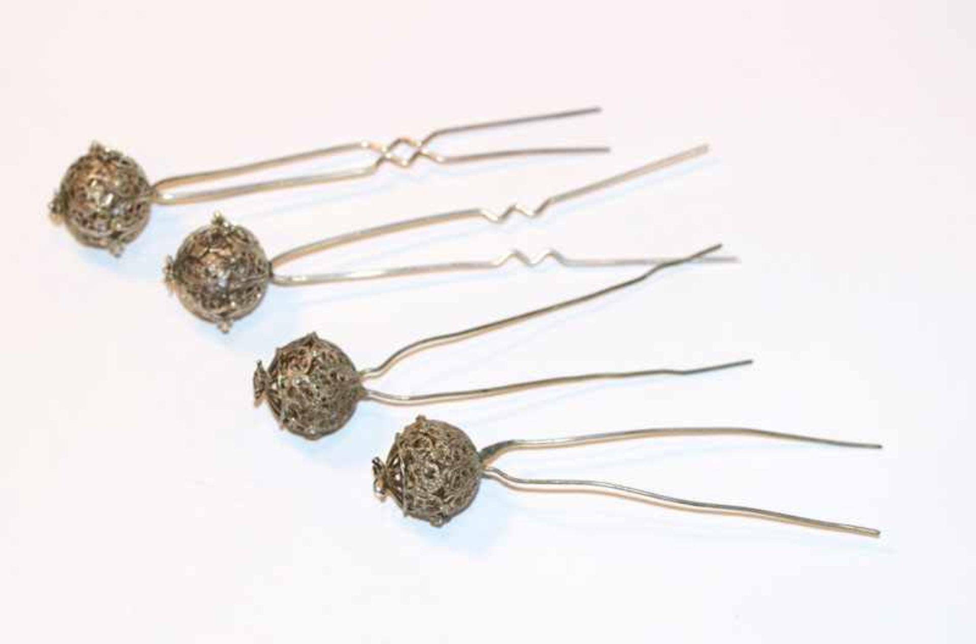 Los 7 - 4 Silber Haarnadeln, filigrane Handarbeit, L 10,5 cm