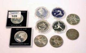 10 diverse Weltmünzen, teils polierte Platte, 252 gr. Sterlingsilber, 56,7 gr. 900 Silber