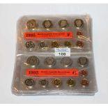 BRD Kursmünzensätze von 1995 bis 1998 komplett, 1995 meist nur in Kursmünzensätzen ausgegeben