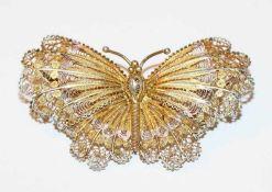 Brosche in Form eines Schmetterlings, 800 Silber, teils vergoldet, filigrane Handarbeit, H 3,5 cm, B
