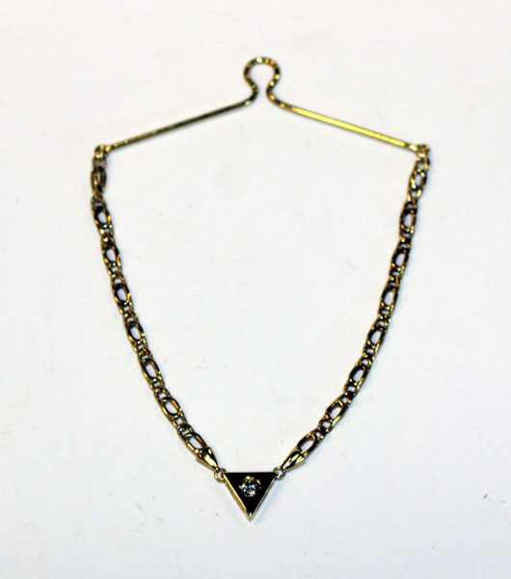 Los 56 - 14 k Gelbgold Krawattenkette mit Diamant, 4,68 gr.