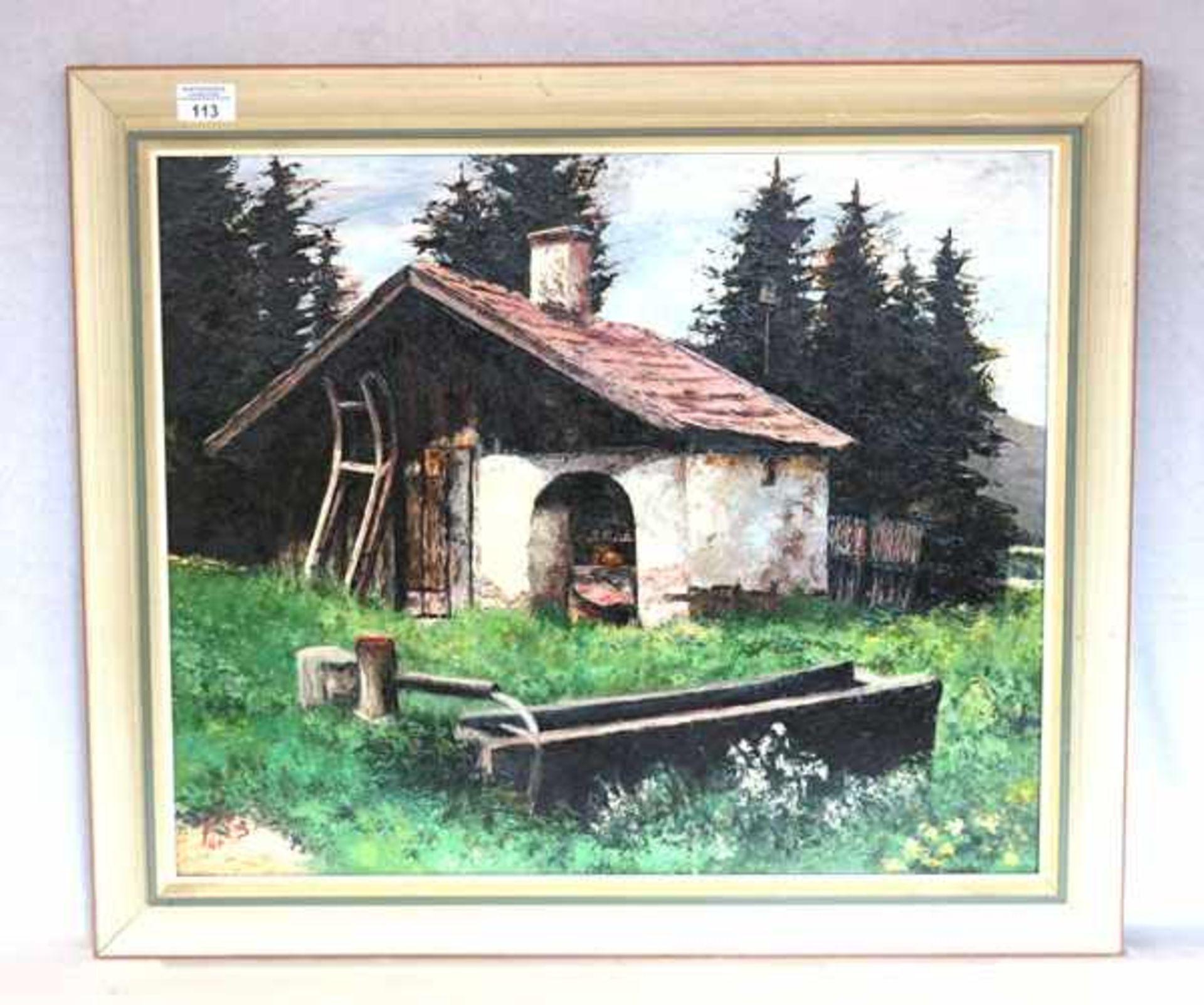 Gemälde ÖL/Hartfaser 'Weishäupl-Gerkofen', monogrammiert PTS für Hermann Peters, datiert 64,
