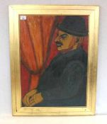 Gemälde ÖL/Karton 'Herrenbildnis', rückseitig mit Klebeetikett Kavasi Jolan ?, Wasserflecken,