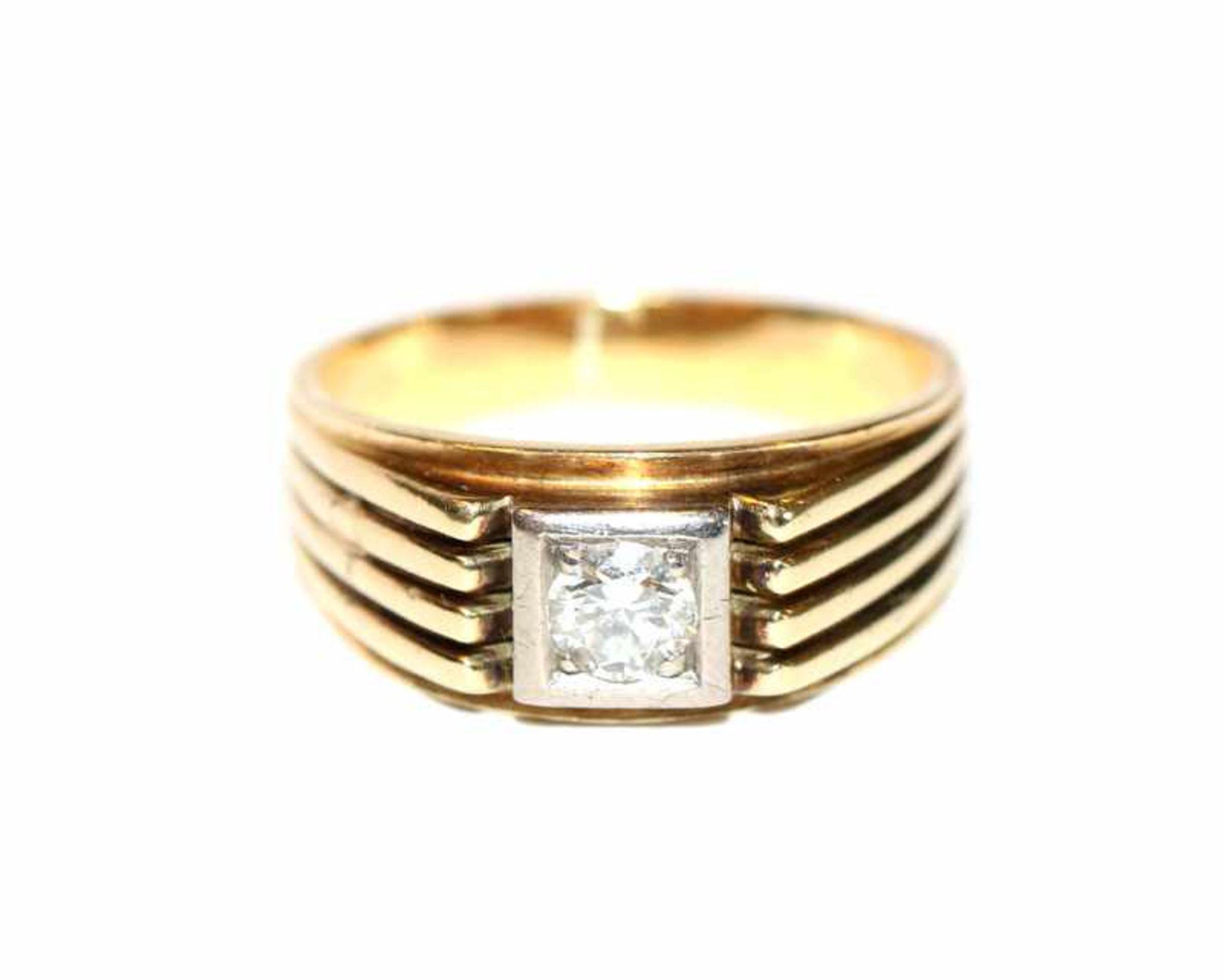 Los 26 - 14 k Gelbgold Ring mit in Weißgold gefaßten Diamanten, ca. 0,50 ct., 9,5 gr., Gr. 63