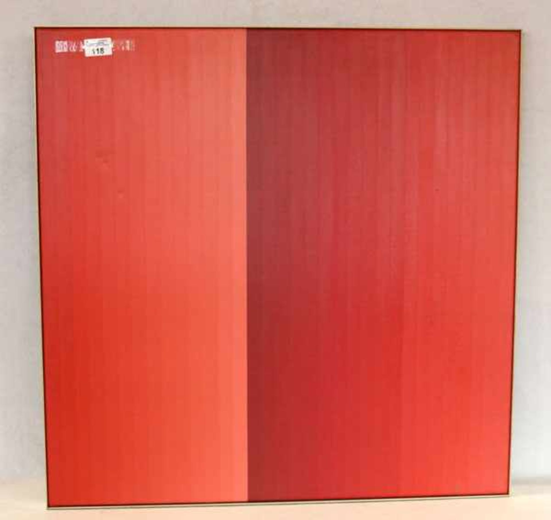 Gemälde ÖL/LW 'Rote Streifen', rückseitig undeutlich signiert, gerahmt, incl. Rahmen 71 cm x 71 cm