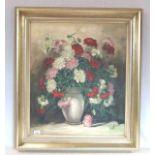 Gemälde ÖL/LW 'Blumenstillleben, Nelken in Vase', signiert Walter Janotta, * 1900 + 1990 Münchner