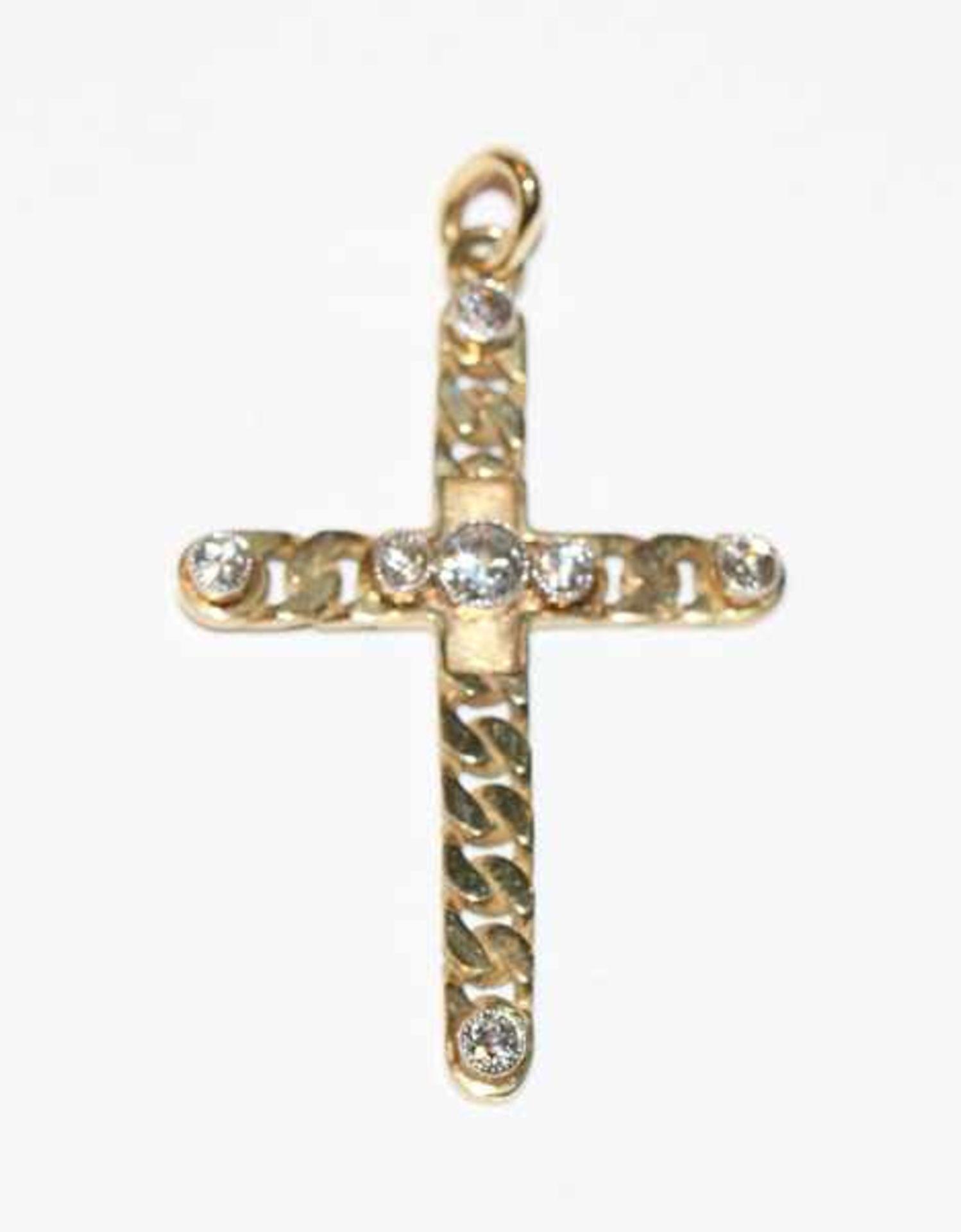 14 k Gelbgold Kreuz-Anhänger mit 6 Diamanten, TW/VS, zus. 0,65 ct., L 4,5 cm, klassische Handarbeit