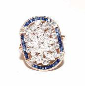 9 k Roségold/ Silber Ring mit 0,22 ct. Diamanten und Safiren in Baguettschliff, Gr. 56,