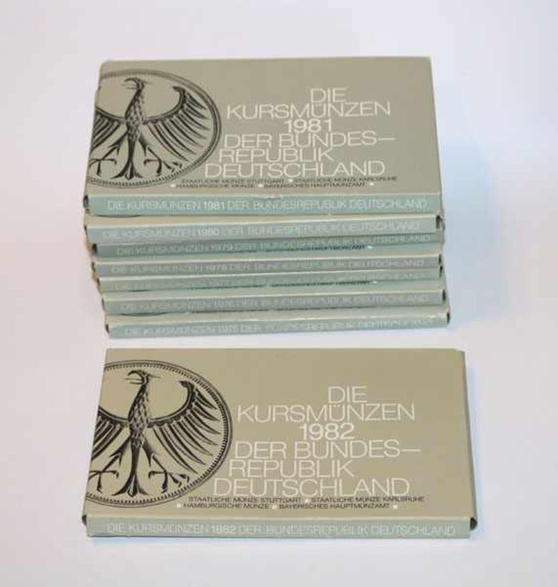 8 Kurzsmünzensätze der BRD, 1975 bis 1982, DFGJ, 405,76 DM Nominalwert