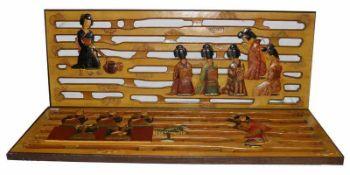 2 Holzverkleidungen mit asiatischem Dekor, teils bemalt, H 48 cm, B 125 cm, teils bestossen
