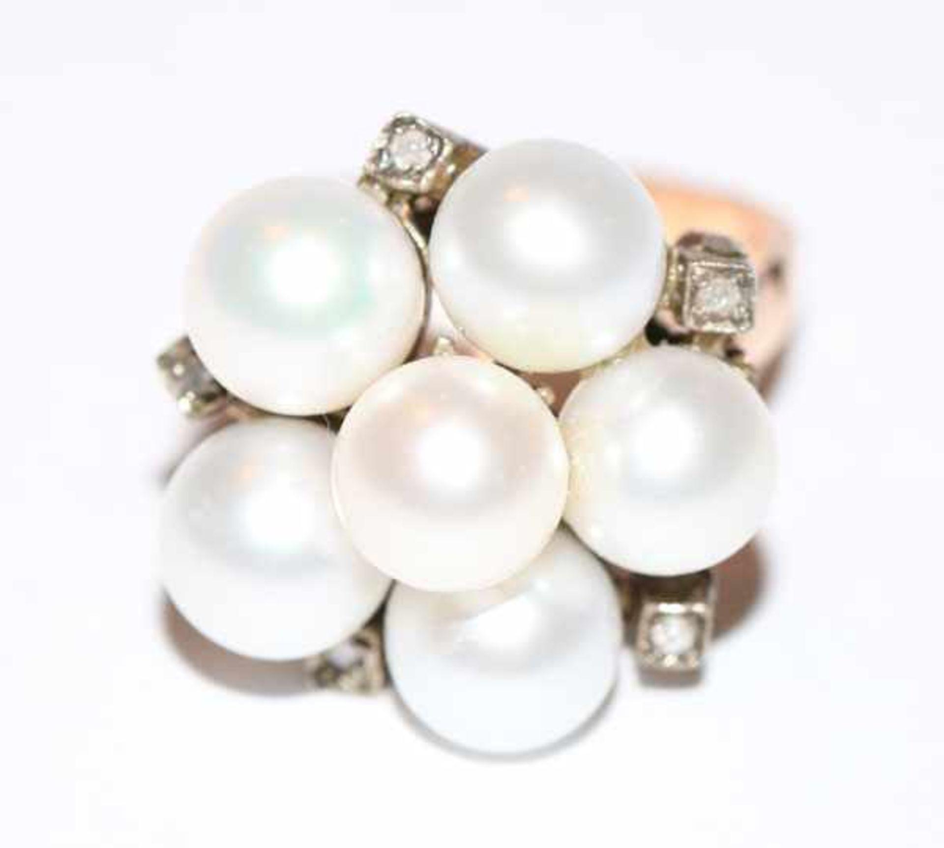 9 k Roségold Ring mit 6 Perlen und 5 kleinen Diamanten, Gr. 53